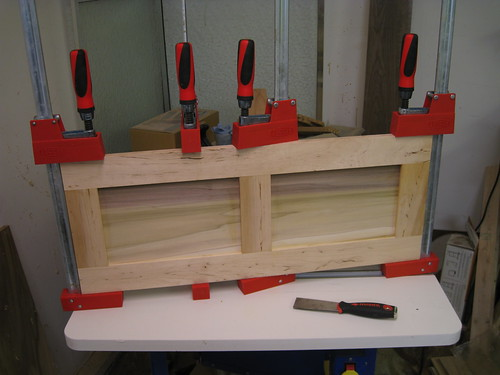 clamped door, glue drying