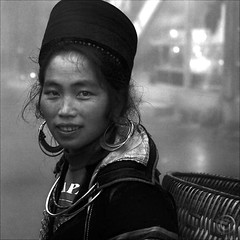 Straightforward dignity (NaPix -- (Time out)) Tags: portrait bw woman black 6x6 face fog canon square asia basket spirit bamboo vietnam explore soul emotions dignity sapa hmong 500x500 explored naturaltexture napix