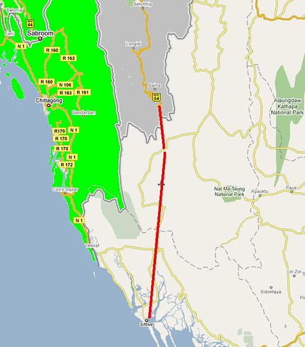 Mizoram to Sittwe proposed route