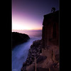 Up before dawn, and above the rest, the lone figure is among the many. ([ Kane ]) Tags: camera pink sea water rocks photographer purple australia cliffs mel nsw heads qld queensland kane fingal gledhill fingalheads cokingrad kanegledhill pointfingle kanegledhillphotography