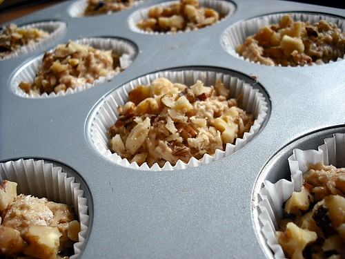 Banana Walnut Muffins in pan