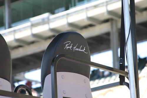 Teamowner Rick Hendrick has his own chair atop the Lowes pitbox.  I dont know why but this is one of my favorite pictures I took on pit road. Photo Credit: ME
