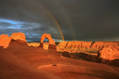 A Day to Remember (elliot23) Tags: park travel sunset storm mountains weather contrast sunrise landscape utah amazing rainbow arch state hiking arches scene double national delicate rare