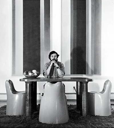 Wendell Castle with his molar chairs, 1973