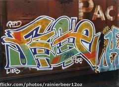 Fyce RTD LIES (Rainier Beer 12oz) Tags: railroad urban art train graffiti paint track traintracks spray olympia wa spraypaint graff traintrack freight freighttrain trainart olympiawa graffi benched benching