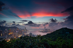 SKY AND SKYSCRAPERS (xavibarca) Tags: skyline architecture skyscraper canon hongkong photos harbour hill victoria hong kong 5d redsky kowloon icc ifc f4 1740