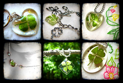 4 leaf clover resin jewelry examples