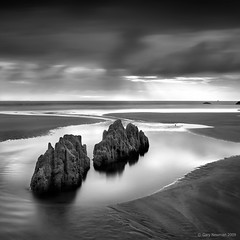 Woolacombe Rocks (Gary Newman) Tags: uk longexposure sea england bw beach pool square sand rocks devon woolacombe nd110 d700