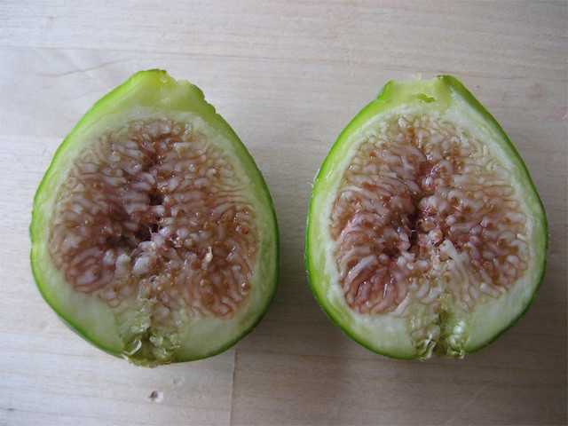 Fresh ripe fig, sliced open