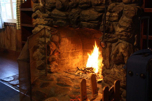 Fireplace in the cabin
