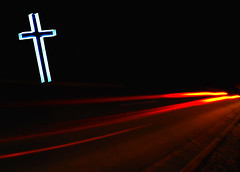 Highway to Hell (Martini Mike) Tags: favorite usa night digital photoshop photo nikon highway neon bestof cross photos hell albuquerque places best photograph adobe crucifix popular 2009 alibi tailights lep dcf dukecityfix darco thingsarenotwhattheyseem martinimike michaelpdarco