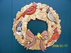 Intarsia Bird Wreath (Wildlife In Wood) Tags: bird pine woodwork cardinal goldfinch walnut holly wreath chickadee cedar bow redwood nuthatch cedarwaxwing intarsia yellowheart padouk