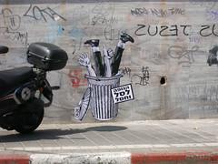 Body trash (Dede (:::[]:::)) Tags: street black pasteup art up dede wall trash dumpster bag telaviv hands hand arm legs body paste glue tel aviv leg gray bin clean thumb ok confidential whitte