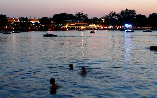 sunset swimmers in qianhai, beijing