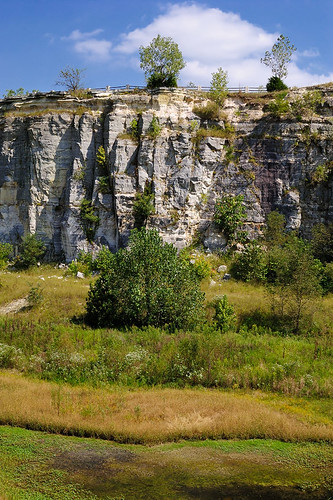 Klondike Park, in Saint Charles County, Missouri, USA - sandstone cliff with swamp below
