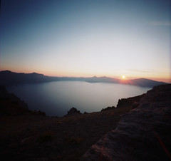 Sunflare (Sebastian B-B) Tags: sunset lake film water pinhole craterlakeoregon zeroimage6x6