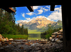 Pyramid Mountain From Under the Bridge (Bill Gracey) Tags: bridge vacation canada nature beauty landscape scenery stream jasper scenic explore alberta naturalbeauty jaspernationalpark pyramidmountain canadianrockies pyramidlake explored bej abigfave theunforgettablepictures platinumheartaward