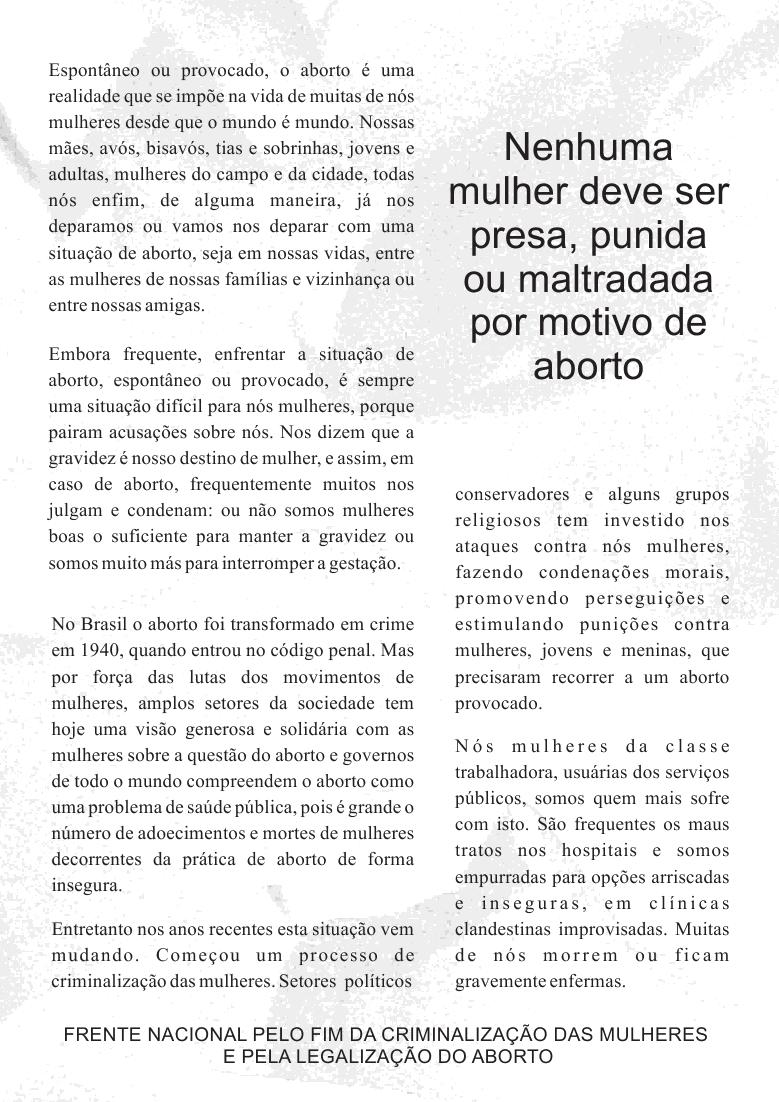 ATO PELO FIM DA CRIMINILIZAÇÃO DO ABORTO!