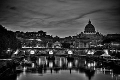 Fiumi nel cielo di Roma (the_lighter) Tags: sunset bw rome roma river delete9 delete5 delete2 delete6 delete7 fiume save3 delete8 delete3 save7 save8 delete delete4 save save2 bn save9 save4 tevere save5 save10 save6 sanpietro hdr saintpeter savedbythedeletemeuncensoredgroup save11 citteterna ponteangeli