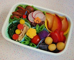 Sausage & Forbidden Rice Bento (sherimiya ) Tags: school fruits kids tomato lunch kid healthy strawberry pretty sheri plum sausage fresh onigiri grapes cauliflower bento sweetpotato radish raspberries spinach blackrice obento enoki peapods forbiddenrice yellowcarrots marooncarrots sherimiya