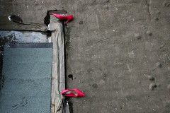 Lost. (DJ Bass) Tags: abandoned feet shoes highheels heels femmefatale soles redshoes overhead lostshoes mymargate