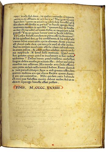 Manuscript Italian verse added to Sallustius Crispus, Gaius: Opera
