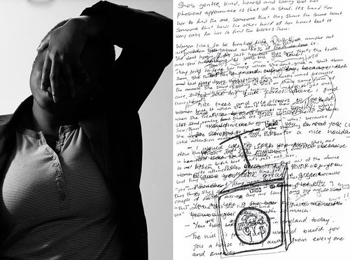 On the left is a photograph of a black woman from the waist up. She is tilting her head, her left arm is raised over her head, her hand drapes over her face. On the right side is a page from a journal filled with writing. More writing is written over the original essay and a drawing of container with a person inside is drawn over the writing as well, creating a chaotic but poetic visual.