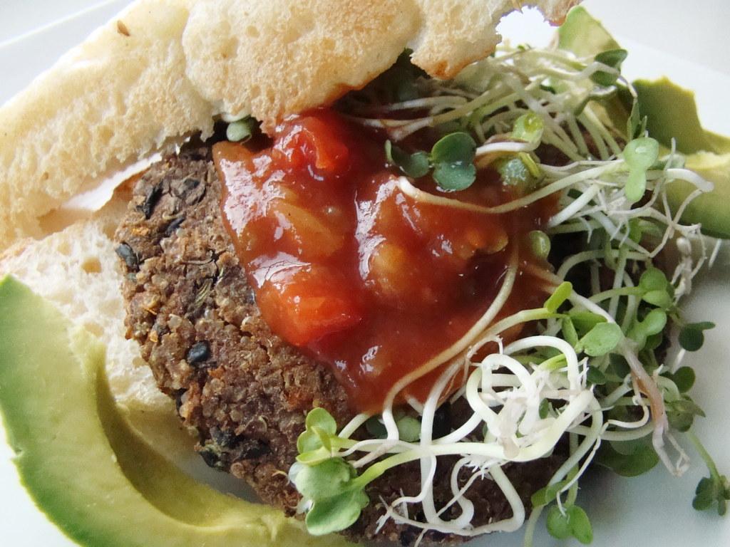 Black Bean Quinoa Burger with Habanero Salsa