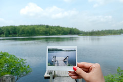 instax spring. (Vitaliy P.) Tags: new york blue trees red white lake ny green clouds analog lens island spring nikon warm fuji hand nail polish upstate brush deck photograph instant kit instax d80 18135mm gettysubmitted