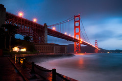 Bridging the Gap Between Morning and Night (Bryan Jaronik) Tags: sanfrancisco california ca morning bridge night clouds photoshop sunrise nikon cloudy goldengatebridge sanfranciscobay sanfranciscoca presidio hdr ggb d90 cloudynight nikond90 nikonflickraward flickraward flickraward5 flickrawardgallery bryanjaronik