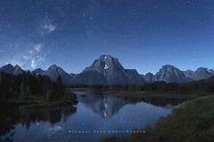Calm and Cool (facebook.com/michaelpaulphotoworks) Tags: grandtetonnationalpark reflection mountain stars jacksonwyoming wyoming nature moonlight celestial oxbowbend river rugged