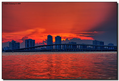 Hot & Cold (Fraggle Red) Tags: sunset red orange cloud evening florida dusk jpeg hdr brickell biscaynebay virginiakey canonefs1785mmf456isusm 3exp rickenbackercswy hdrqueen miamidadeco dphdr thegreatshooter guasdivinas