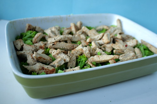 Chicken and broccoli in the dish