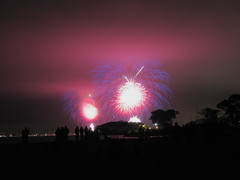 The Fourth in San Francisco (Brandon46142) Tags: sf california ca blue red usa white west beach field cali fog night america canon bay coast san francisco long exposure day fireworks 4 july area independence patriotism fourth 2009 crissy frisco g9