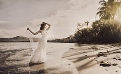 Destination wedding (Mukhina Ekaterina) Tags: ocean park old wedding sunset sea sun white art beach sepia costarica veil dress cuba carribean palm national destination puertoviejo gown bridal cahuita
