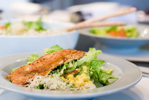 Smoke Salmon with Salsa Verde Salad