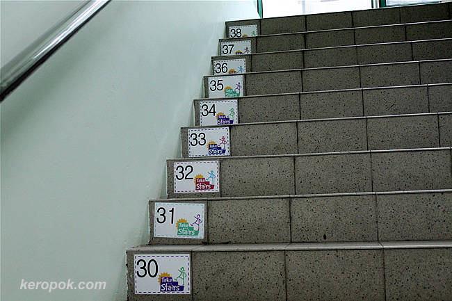 On the stairways to health, each step is numbered.