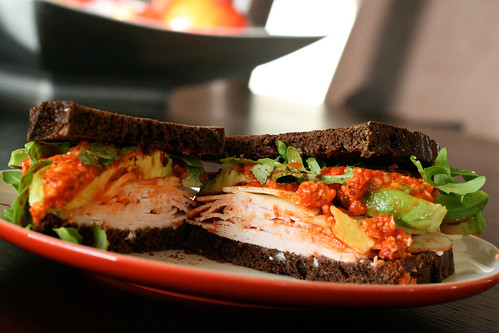 Turkey & Avocado Sandwich with Romesco Sauce