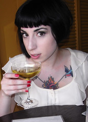 Me with Gilded Lily (Raquel Van Nice) Tags: sanfrancisco me gold leaf chartreuse haight gin champagneglass gildedlily