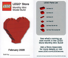 LEGO MMMB - February 2009 (Heart) (TooMuchDew) Tags: red holiday love heart lego valentine february valentinesday legostore february14 legoimaginationcenter legoinstructions mmmb toomuchdew monthlyminimodelbuild licmoa minimodellbauevent
