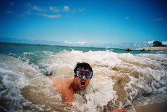 F1000025 (michaelback) Tags: beach water hawaii lomography snorkel oahu trunks krab fujisuperia400 lomolcarl lomokrab