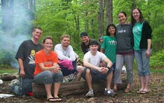 Eric Reiber, Anne Arundel Community College campus minister (shown fourth from left in back) and  AACC students enjoy a camp time break away from school. Reiber will focus on  fellowship this academic year.