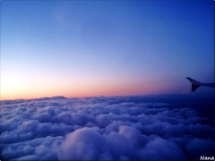 OVER HEAVEN'S  SUNSET...:) (nana solana) Tags: pink blue sunset sky clouds atardecer heaven explore cielo nubes avion volando supershots