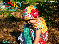 Funky Vintage Dress Set (oliviakatedesigns) Tags: girls girl capri outfit clothing child dress bright handmade sewing apron boutique custom clochehat fleamarketfancy deniseschmidt vintagecrochetlace oliviakatecouture