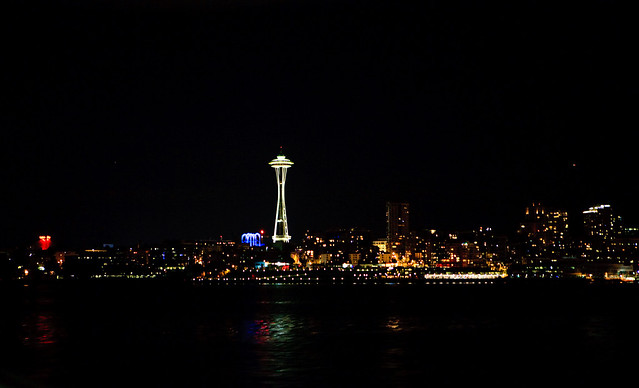 Seattle at night from the ferry