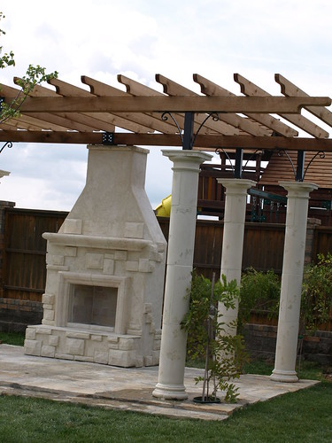 Outdoor Fireplace and Garden Party Pergola