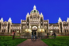 The Main Attraction: The British Columbia Legislature in Victoria B.C (Brandon Godfrey) Tags: pictures old city longexposure blue roof urban canada building beautiful architecture night buildings wow wonderful photography harbor photo amazing fantastic twilight scenery long exposure all cityscape bc shot photos shots harbour pics britishcolumbia flag sony capital lawn picture parliament pic scene images victoria tourist flags canadian tourists best inner capitol hour dome creativecommons copper northamerica unreal alpha dslr incredible legislature 2009 hdr highdynamicrange attraction victoriabc jamesbay watermark outstanding a300 photomatix tonemapped tonemapping francisrattenbury dslra300 sonya300