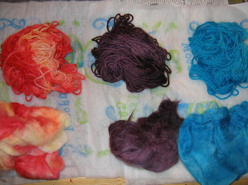 Kool-aid dyed wool yarn and wool roving