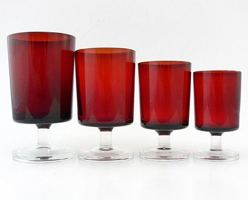 Set of 64 - Luminarc Ruby Red Cavalier Glasses, France c. 1970s