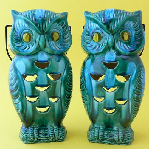 Set of 2 - Inarco Ceramic Owl Candle Hangers